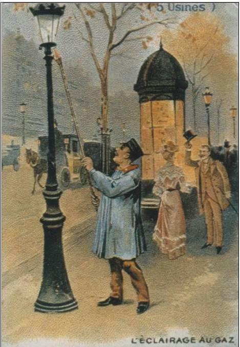 carte postale allumeur de réverbères