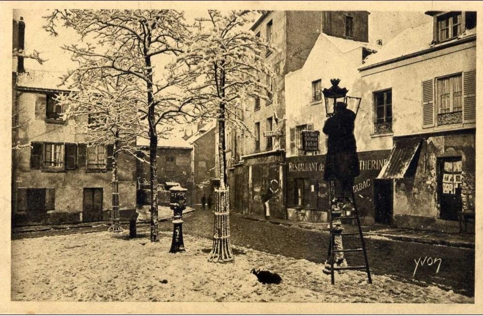carte postale ancienne allumeur de réverbères