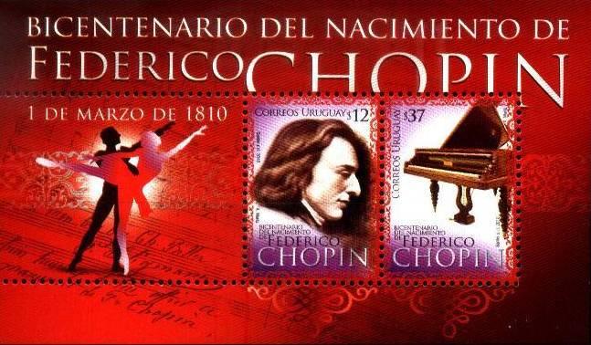 bloc de timbres Chopin Uruguay