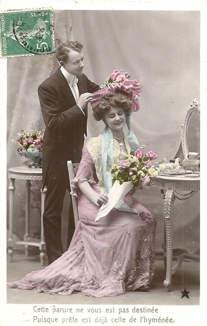 carte postale ancienne couple 1910