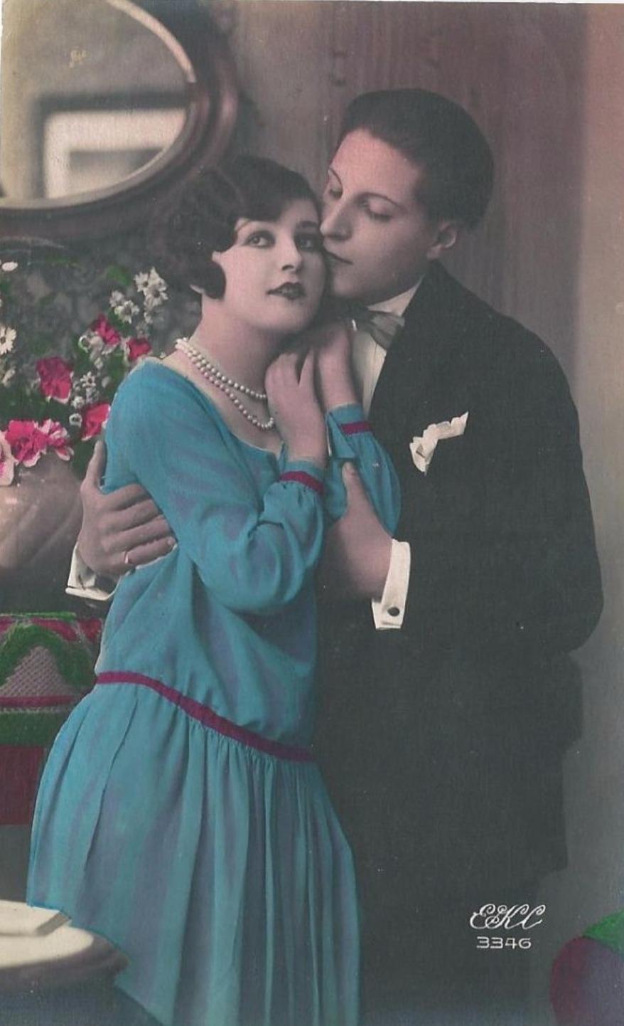 carte postales ancienne couple 1930