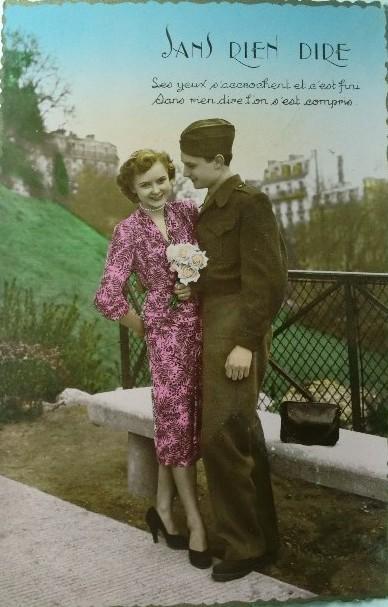 carte postale ancienne couple 1940