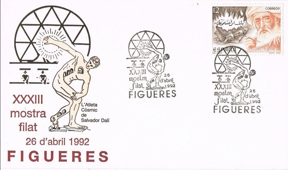España 1992, sobre primer día Mostra Filat en Figueres