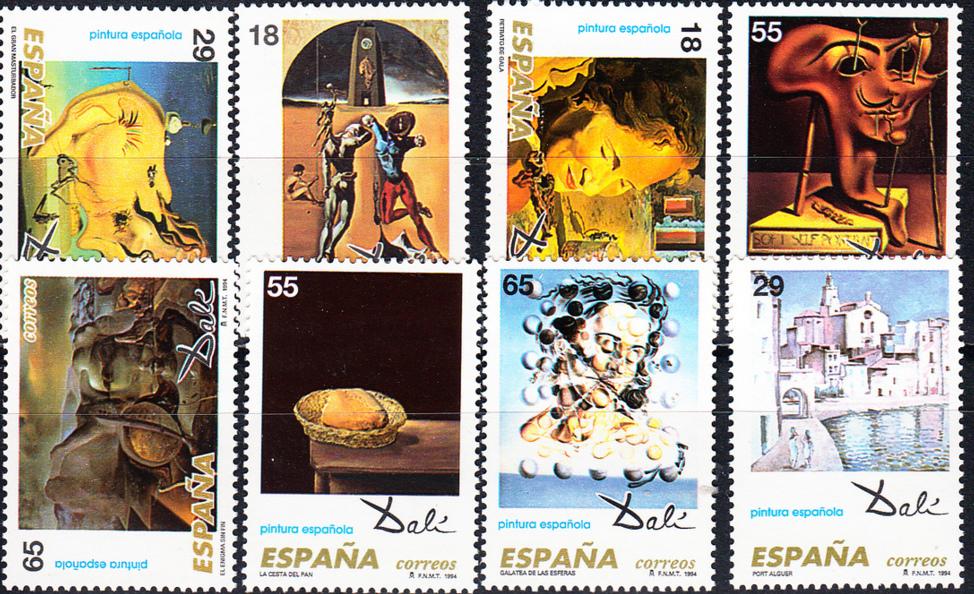 España 1994, serie de sellos dedicados a las obras de Dalí