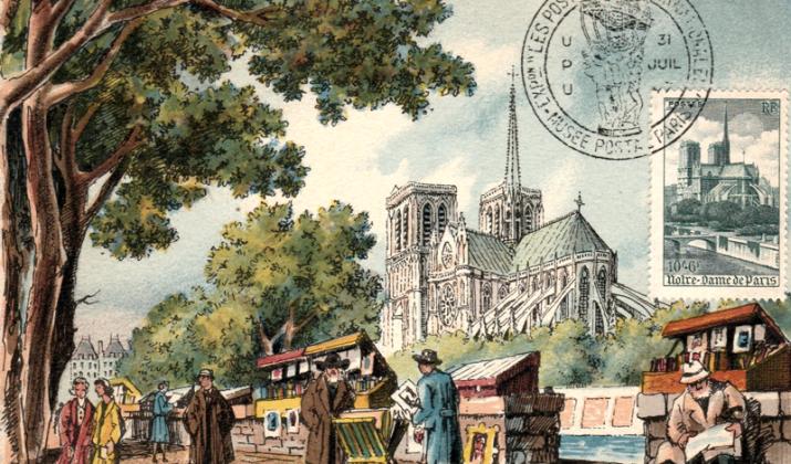Carte Postale Maximum de Notre-Dame de Paris: Les Bouquinistes