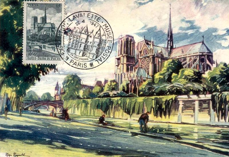Carte Postale Maximum de Notre-Dame de Paris, 1947